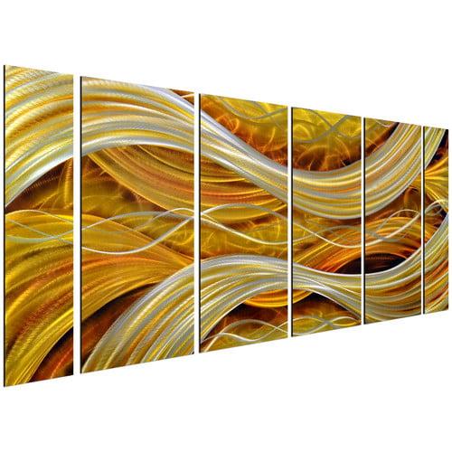 Omax Decor 6 Piece Golden Interwoven Spirals Wall D cor Set