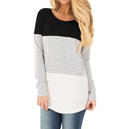 LELINTA Women's Long Sleeve Tee Round Neck Triple Color Block Stripe T-Shirt Casual Blouse Black
