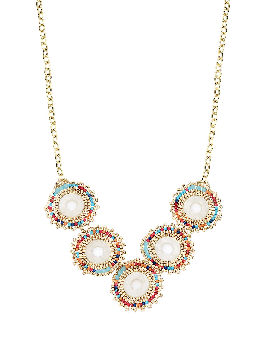 Goldtone and Multicolor Crystal Beads Necklace
