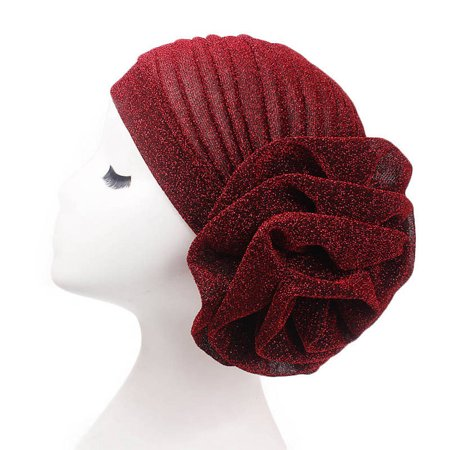 KABOER 1 Pcs Women Muslim Hijab Flower Elastic Turban Head Scarf Chemo Cap Hat](Silver Top Hat)
