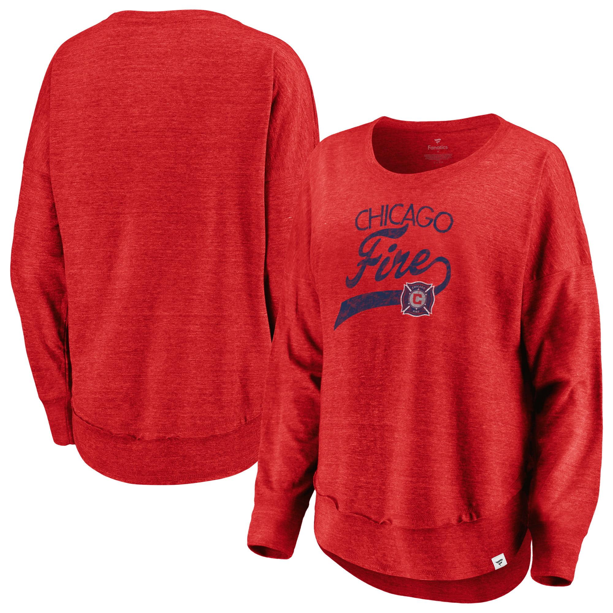 Chicago Fire Fanatics Branded Women's Plus Size True Classics Amaze Long Sleeve Tri-Blend T-Shirt - Heathered Red