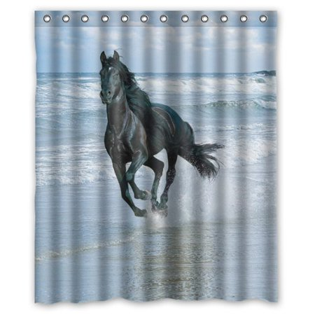 Mohome Photo Black Horse Gallop On The Beach Shower Curtain Waterproof Polyester Fabric Size