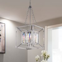 Morcent 4-Light 16-Inch Square Chrome Pendant