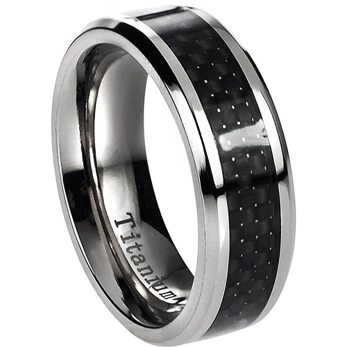 Daxx Men's Titanium Black Carbon Inlay Ring