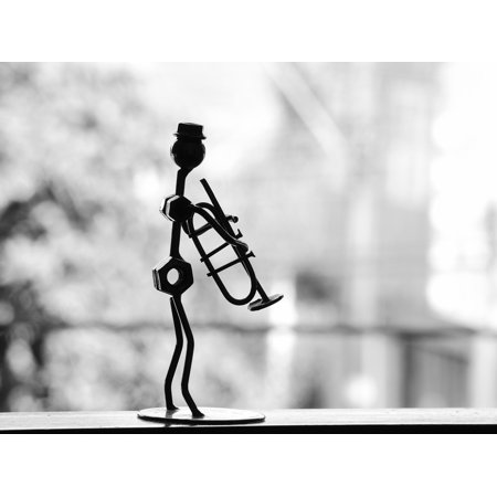 LAMINATED POSTER Musician Metal Table Decoration Snowman Trumpet Poster Print 24 x 36 - Poster Decorations