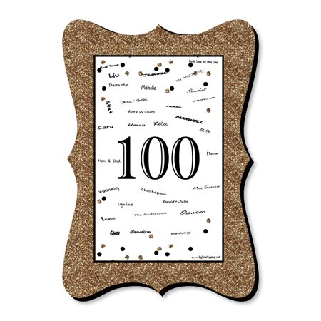 Adult 100th Birthday - Gold - Unique Alternative Guest Book - Birthday Party Signature Mat](100th Birthday Party Ideas)