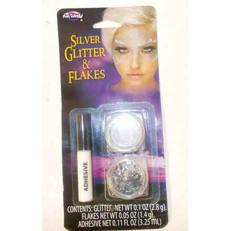 Silver Face Makeup (Fun World Silver Glitter Flakes Makeup Face paint)