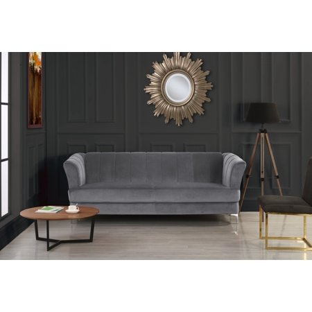 Grey Elegant Classic Plush Velvet Living Room Sofa With Hardwood Frame ()