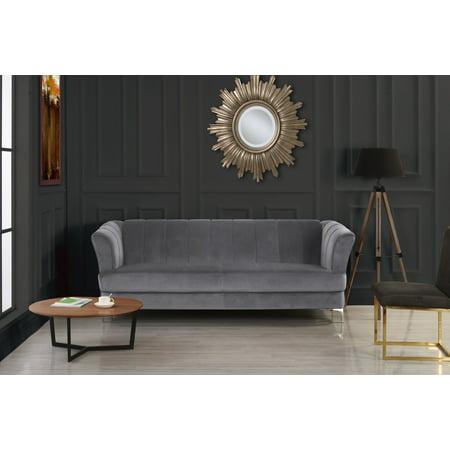 Grey Elegant Classic Plush Velvet Living Room Sofa With Hardwood