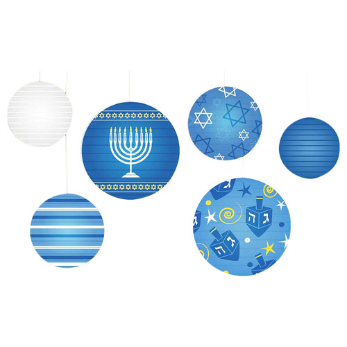 The Holiday Aisle 6 Piece Hanukkah Ball Lantern D cor Set