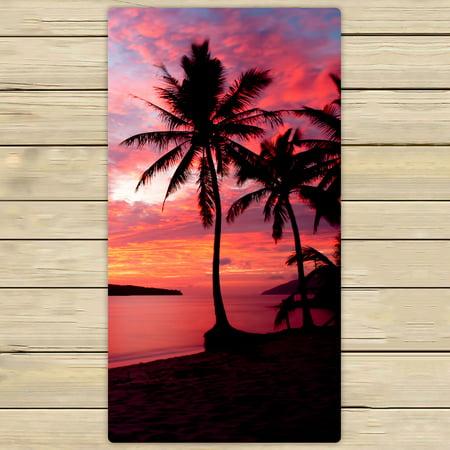 YKCG Sunset Birds at Rebak Island Palm Tree Hand Towel Beach Towels Bath Shower Towel Bath Wrap For Home Outdoor Travel Use 30x56 inches ()