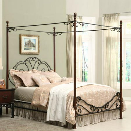Weston Home Adison Graceful Scrolls Metal Canopy Bed, Multiple Sizes ()