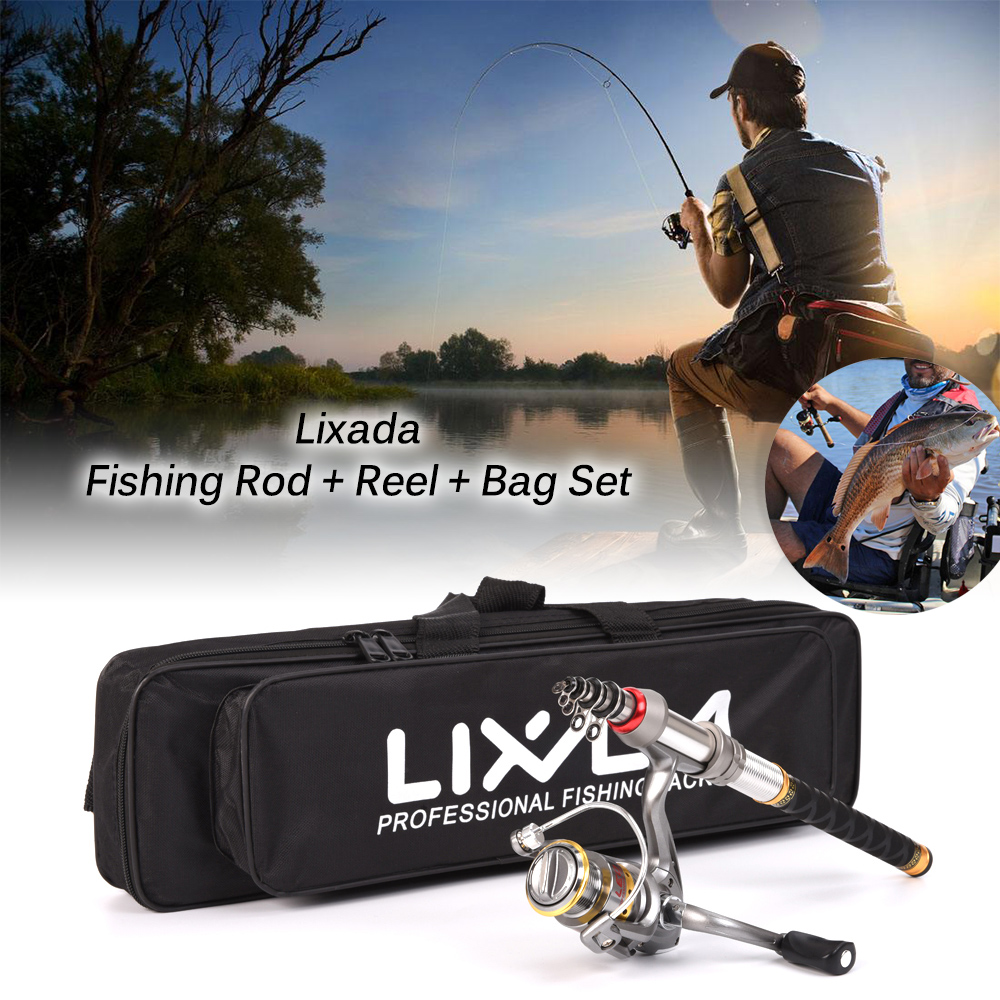 Lixada Telescopic Fishing Rod and Reel Combo Full Kit Spinning Fishing Reel Gear Organizer Pole Set by