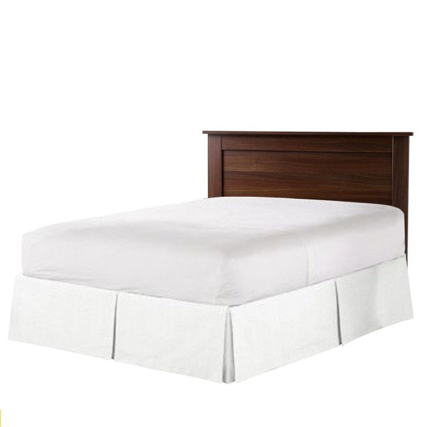 Pleated Bed Skirt Queen Size White