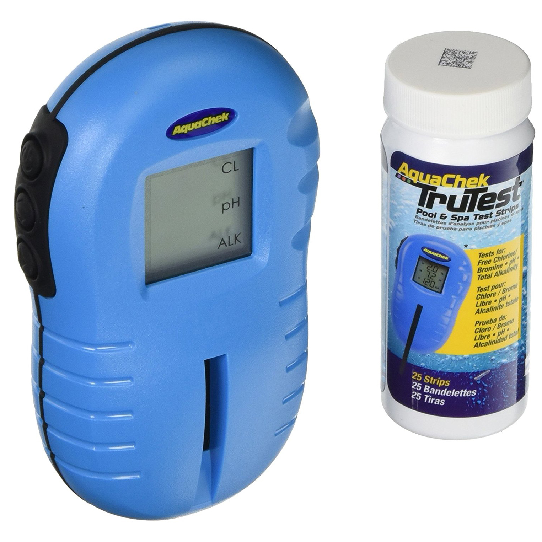 AquaChek Hot Tub Spa TruTest Digital Chlorine Test Strip Kit Reader, 25 Strips
