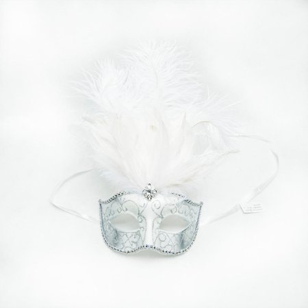 White and Silver Masquerade Feather Mask