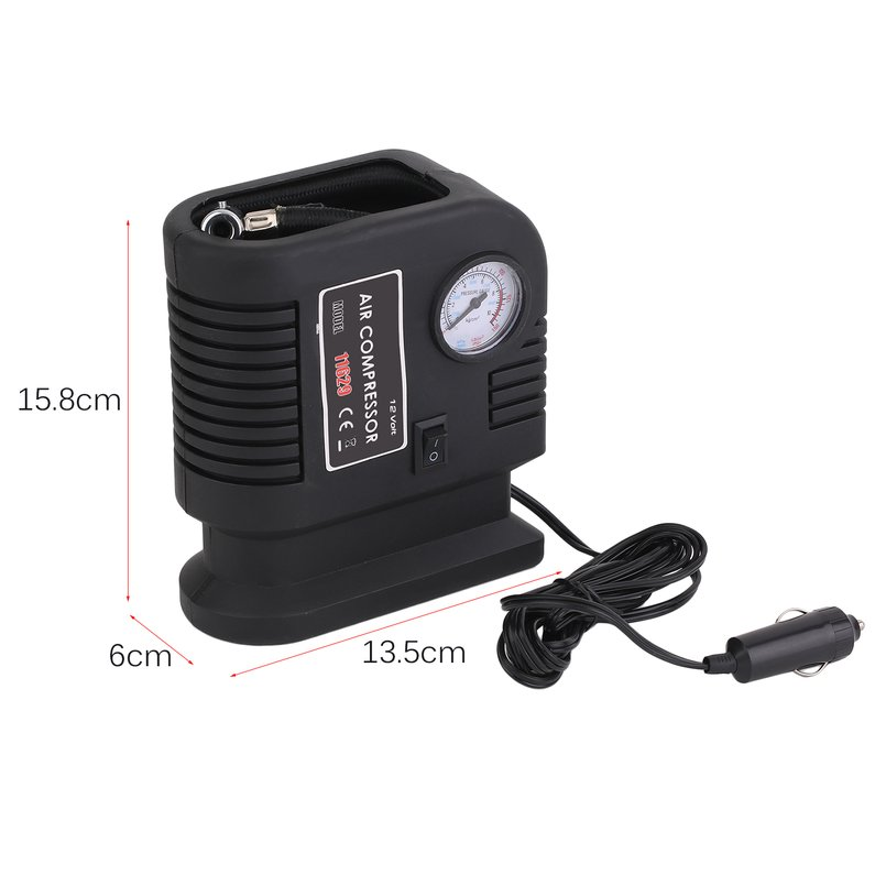 Hot Sale Portable Auto Vehicle Air Compressor Pump Tire 12V And 3 Adapter Electric Inflatable Inflating Pump Tire Tyre Inflator, Black