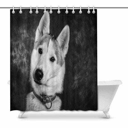 POP Cute Husky Dog Bathroom Shower Curtain Set 66x72 inch - image 1 of 1