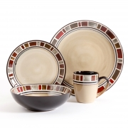 Gibson Elite Cimarron Red 16 Piece Dinnerwaer Set, Cream