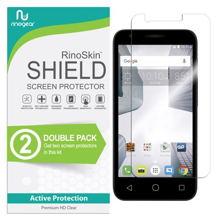 Ideal Shield (Alcatel Dawn / Streak / Ideal Screen Protector [2-PACK] RinoGear Flexible HD Invisible Clear Shield Anti-Bubble Unlimited Replacement Film)