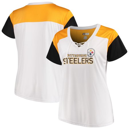 Pittsburgh Steelers Majestic Women's Lace-Up V-Neck T-Shirt - White/Black Dwight White Pittsburgh Steelers