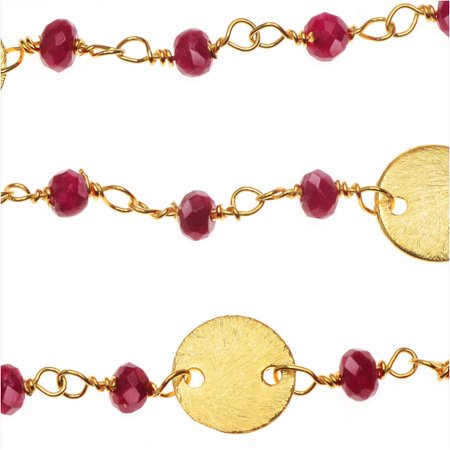 Vermeil Gold Wire Wrapped Gemstone Chain, Ruby Rondelles 3mm and 8mm Pailettes, 1 Inch, Red Blood Red Ruby Gem