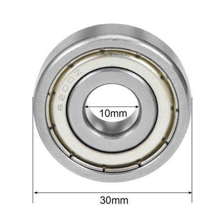 6200ZZ Deep Groove Ball Bearing 10x30x9mm Double Shielded Chrome Steel Bearings - image 3 of 4