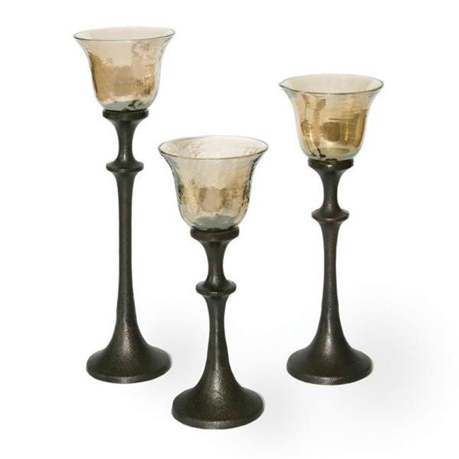Midwest CBK EA1020 Set of 3 Goblet Candleholders Sepiabrown - Glass And Metal