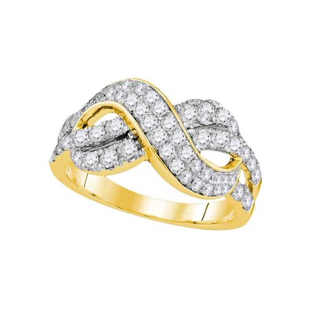 Size 8.5 - 14k Yellow Gold Round Diamond Infinity Crossover Band 1.00 Cttw