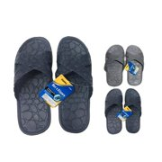 Mens Slippers, Grey, Navy & Black - Men 7-12 - Case of 12