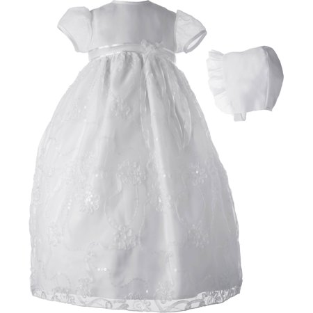 Christening Baptism Newborn Baby Girl Special Occasion Organza Ribbon & Sequin Embroidered Dress Gown Outfit