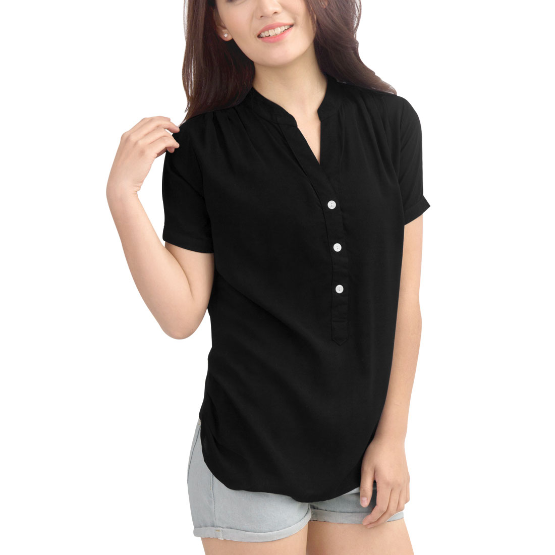 Allegra K Women's Casual Short Sleeve 1/2 Placket Hi-Lo Shirt Black (Size M / 8)