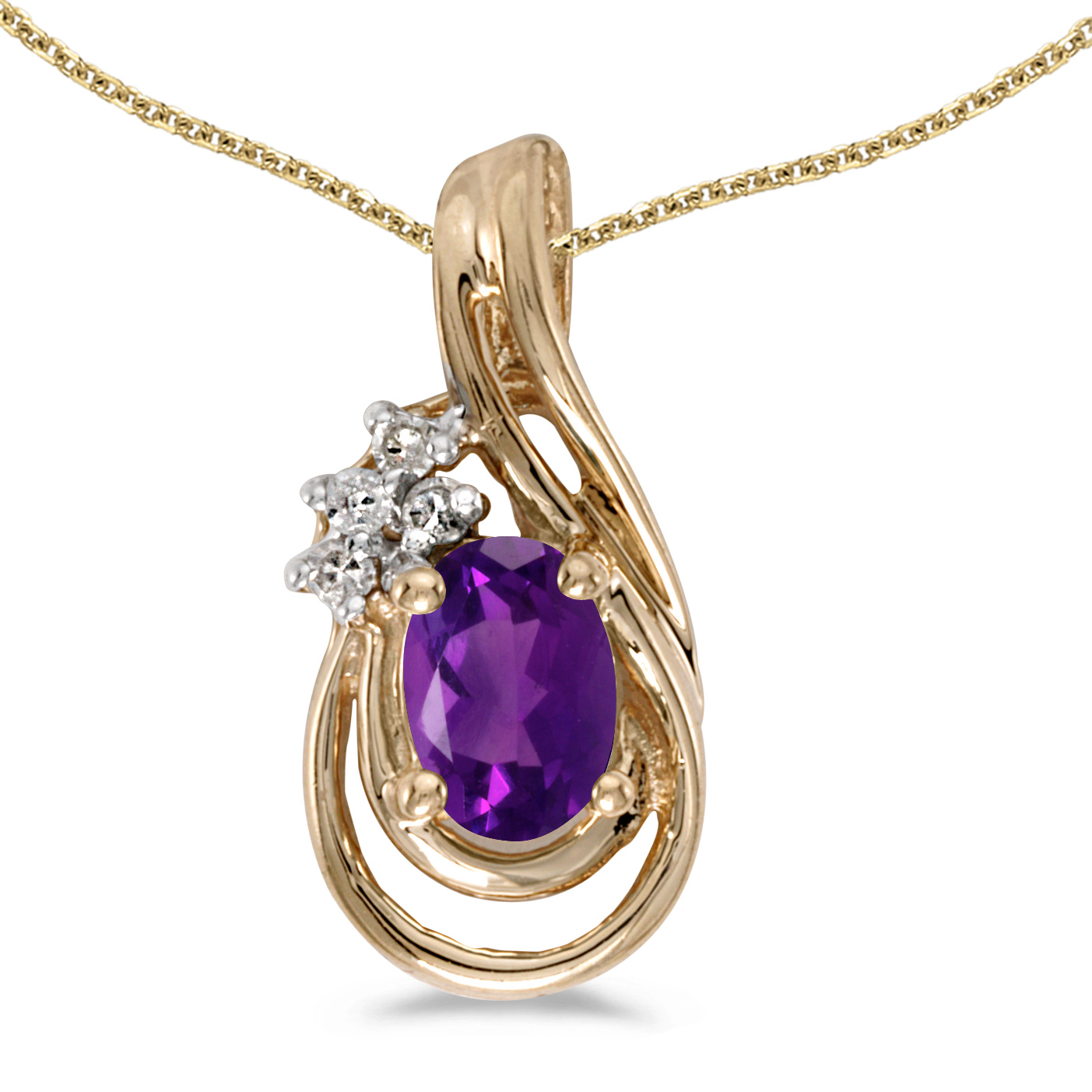 """10k Yellow Gold Oval Amethyst And Diamond Teardrop Pendant with 16"""" Chain by"""