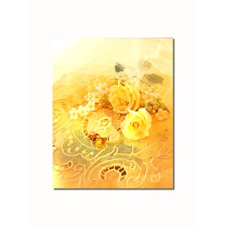 Yellow Roses on Lace Flowers Wall Picture 8x10 Art Print