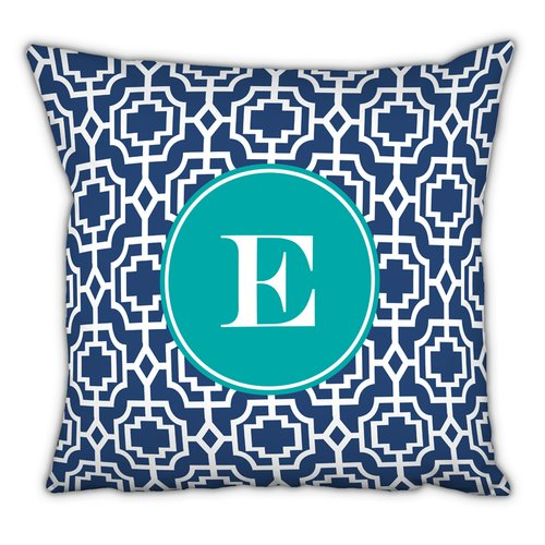 Whitney English Designer Lattice Single Initial Cotton Throw Pillow