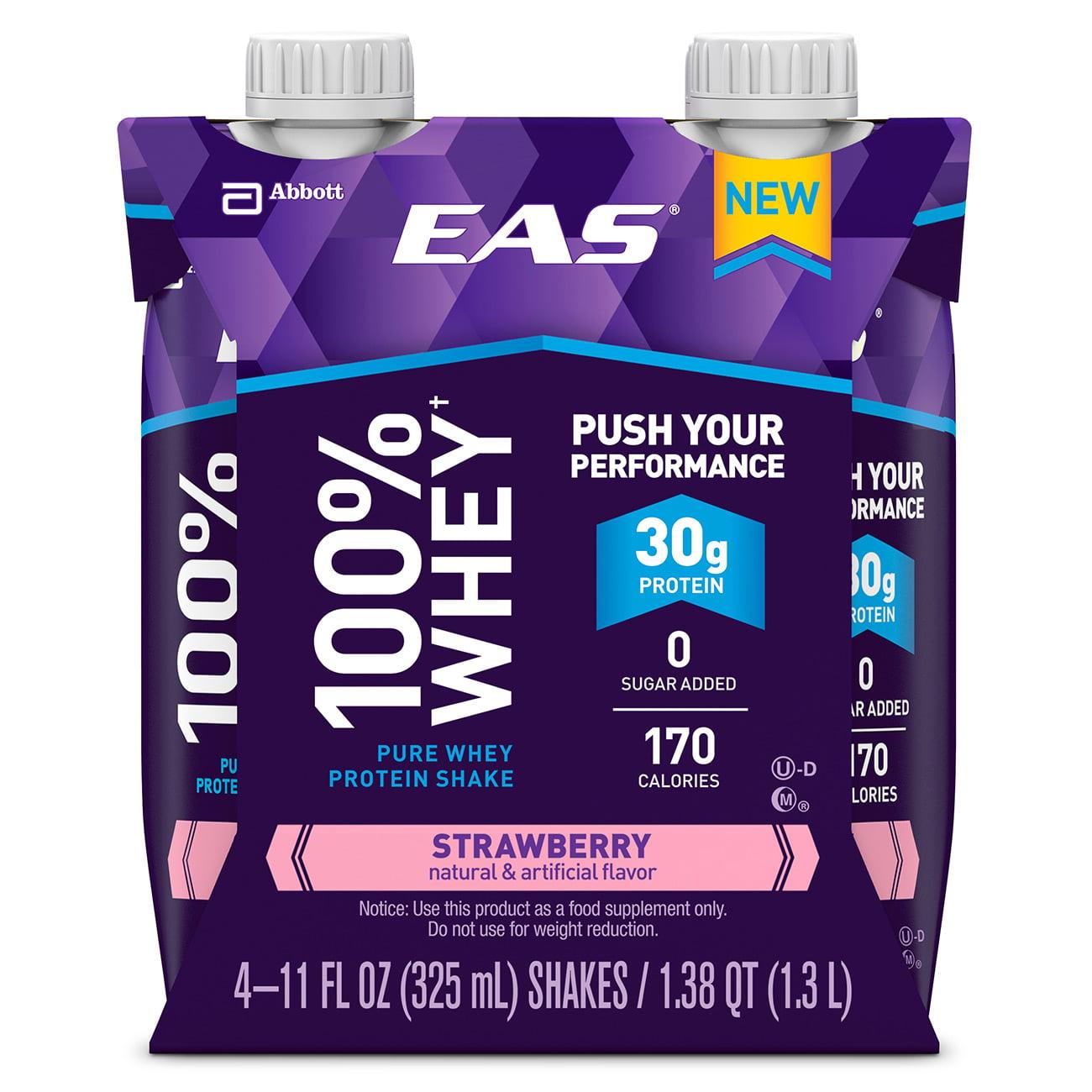 EAS 100% Whey Protein Shake, Strawberry, 325 mL (3-4 Packs)