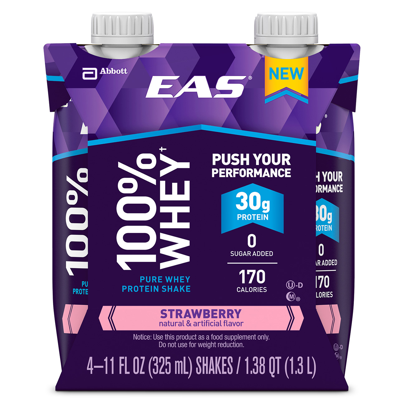 EAS 100% Whey Protein Shake, Strawberry, 325 mL (3-4 Packs)