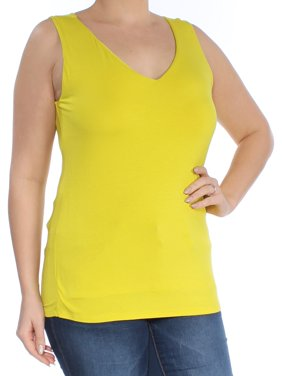 2d6a918c304c4 Product Image INC Womens Yellow Sleeveless V Neck Top Size  L