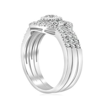 2 ct Round  Diamond Engagement Halo Wedding Ring Trio Set 14K White Gold - image 3 de 4