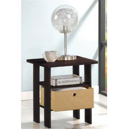 LRL End Table Bedroom Night Stand with Bin Drawer, Espresso & Brown - 17.5 x 15.5 x 15.5 in. (Brown Round End Table)