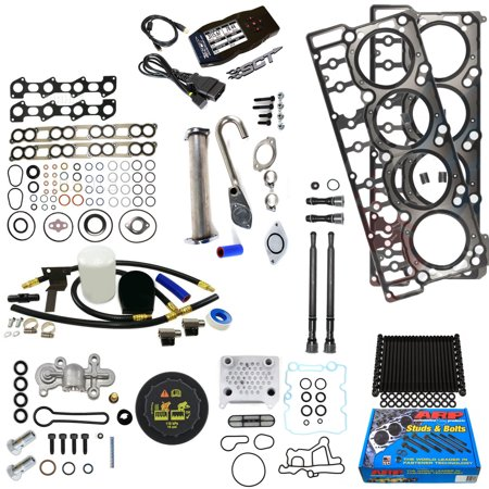 Ford 6.0L 6.0 Powerstroke Kit - 2004.5-2006 - Tuner ARP Studs 18MM Head Gaskets Oil Cooler Stand Pipes Coolant Filtration Kit Cap Blue Spring Intake and Exhaust Gaskets