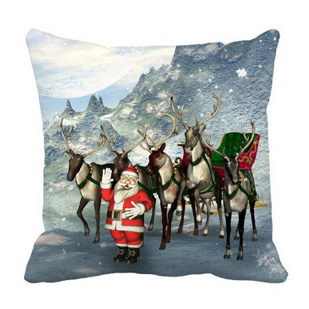 PHFZK Merry Christmas Pillow Case, Reindeer with Santa Claus in Winter Landscape Pillowcase Throw Pillow Cushion Cover Two Sides Size 18x18 inches ()