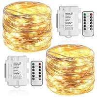 2 Pack 36ft 100 LED Outdoor Battery String Lights, Silver Copper Lights for Bedroom, Garden, Easter, Christmas Decoration (8 Modes, Dimmable, IP65 Waterproof, Warm White) (Remote and Timer)