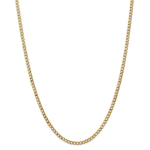 14k Yellow Gold 24in 3.35mm Lightweight Curb Link Necklace Chain by Jewelrypot