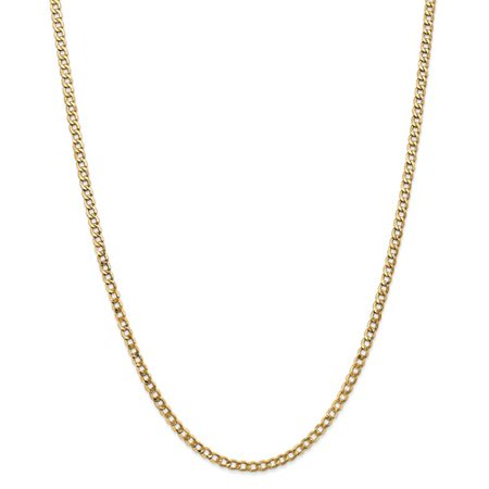 14K Yellow Gold 24In 3 35Mm Lightweight Curb Link Necklace Chain