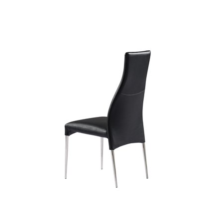 Curtis dining chair faux leather color black finish for Colorful leather dining chairs