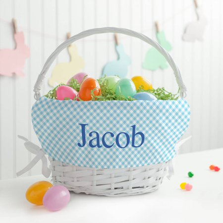 Personalized White Wicker Easter Basket with Blue Liner - Empty Baskets For Gifts