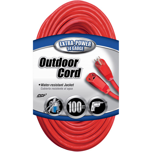 Coleman Cable 14/3 SJTW Outdoor 100' Vinyl Extension Cord, Red