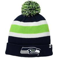 Seattle Seahawks NFL '47 Brand Navy Green Breakaway Cuff Knit Hat Cap with Pom Adult
