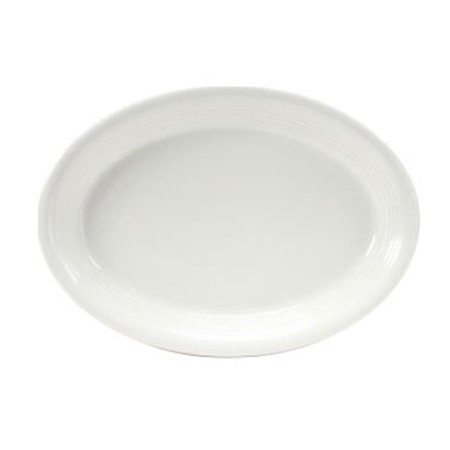Oval China Platter - Tuxton China CWH-0962 9.75 in. x 7 in. Concentrix Oval Platter - Blanco - 2 Dozen